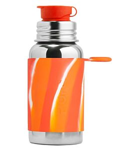 Pura Kiki: Stainless Steel Sport Bottle with Silicone Sport Top & Sleeve 18oz/550ml - Orange Swirl - 14% OFF!!