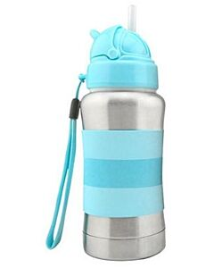 Haakaa: Standard Neck Stainless Steel Thermal Straw Bottle 270ml/9oz- BLUE - 15% OFF!