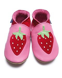 Inch Blue: Soft Sole Leather Shoes - Strawberry Rose Pink - Small (0-6 months)