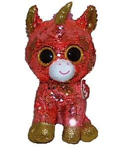 Ty Beanie Boos: Sunset - Coral Unicorn (Sequins)