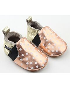Bebebundo: Sunset Dots Shoes in Gold & Cream - Size 1 [11cm / 3 to 6 Months] - 16% OFF!!