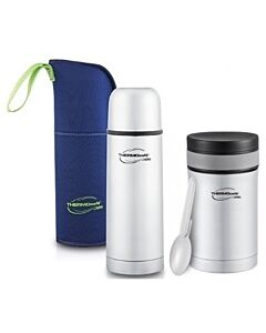 27% OFF!! Thermos COMBO: Thermocafe 500ml Basic Living Flask With Pouch (TC-502F) + ThermoCafe 500ml Basic Living Food Jar With Spoon - TC501FJ