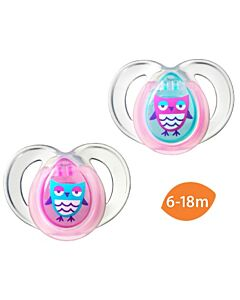 Tommee Tippee: Closer to Nature Night Time (Glow in the dark!) Soother 6-18mths (Twin Pack) PINK -20% OFF!!