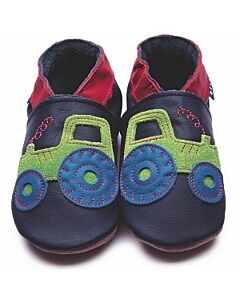 Inch Blue: Soft Sole Leather Shoes - Tractor Navy - Medium (6-12 months)
