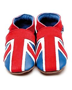 Inch Blue: Soft Sole Leather Shoes - Union Jack - Extra Large (18-24 months)