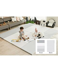 ALZiP® Mat Baby Foldable Silion Playmat   Size G (200*140*4cm) - Urban MilkGrey