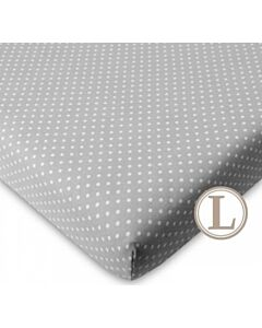 Funbies: Viggo Baby Cot (White) + L Size Fitted Sheet (Polka Dot Grey) *Value Set* - 5% OFF!!