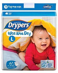 Drypers Wee Wee Dry L62 (9-14kg) - Mega Pack - 25% OFF!