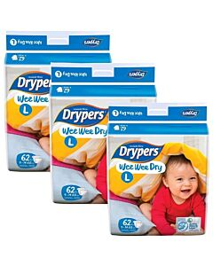 Drypers Wee Wee Dry L62 (9-14kg) *3 pack bundle* - Mega Pack - (RM28.60 EACH!) - 28% OFF!!