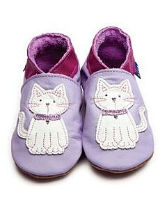 Inch Blue: Soft Sole Leather Shoes - Meeow Lilac/White - Large (12-18 months)