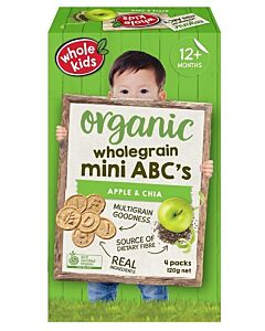Whole Kids: Organic Wholegrain Mini ABC's - Apple & Chia 120gm [4 packs] (From 12+ Months) - 10% OFF!!