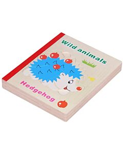 Funny Kid's: Wooden Book Puzzle - Wild Animals - 10% OFF!!