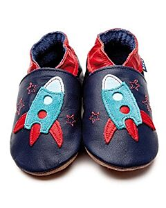 Inch Blue: Soft Sole Leather Shoes - Zoom Navy - Child Small (2-3 years)