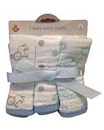 Earth Bebe: 3pcs Muslin Washcloth - Blue Cloud
