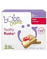 Bubs Organic Apple & Barley Malt Toothy Rusks *Lactose Free* [12 Rusks] 100gm (6+ Months) - 9% OFF!!