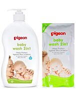 Pigeon:  Baby Wash 2 in 1 (1000ml pump) + Refill (900ml) - 26% OFF!!