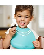 Make My Day: Baby Bib - Breakfast At Moms Pearl (Tiffany Blue With Pearls) - 20% OFF!!