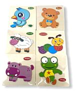 Funny Kid's: Solid Small Puzzle - Frog, Hippo, Caterpillar, Sheep, Bear & Birdie (Set A) - 10% OFF!!