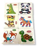 Funny Kid's: Solid Small Puzzle - Tortoise, Panda, Fox, Horse, Tiger & Dinosaur (Set B) - 10% OFF!!
