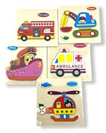 Funny Kid's: Solid Small Puzzle - Digger, Helicopter, Ship, Fire Truck & Ambulance (Set F) - 10% OFF!!