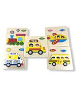 Funny Kid's: Solid Small Puzzle - Train, Police, Bus, Plane & Taxi (Set G) - 10% OFF!!