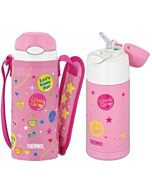 Thermos: 400ml Stainless Steel Iced Cold Bottle with Pouch (Pink) (FFI-400F) - 26% OFF!!