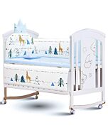 CHILUX 6 Mode Multifunctional Baby Cot - Peace White (COMBO 3: Cot + Crown Cotton Cushion)